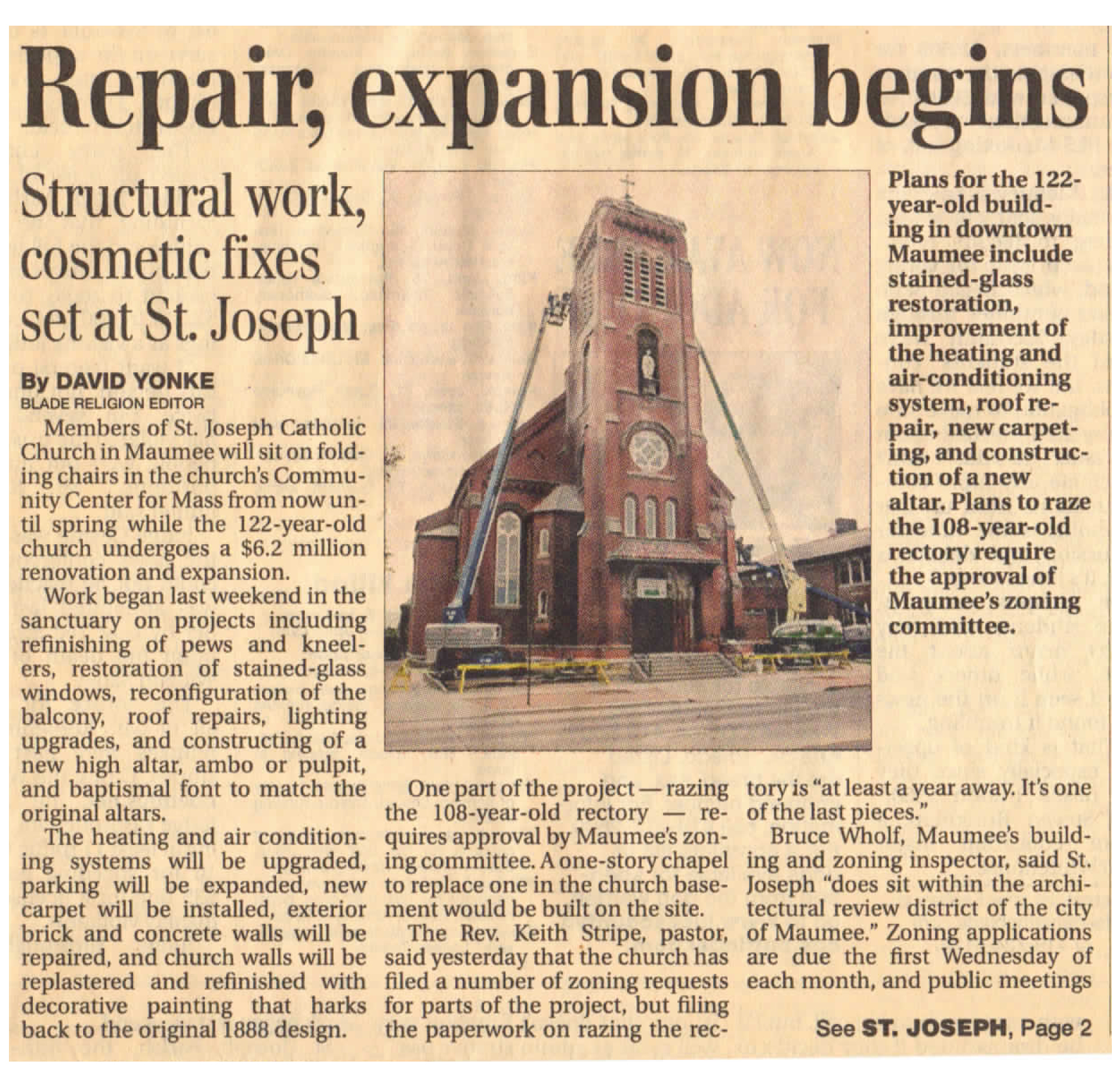St Joseph Church Maumee Toledo Blade article on the church building renovation