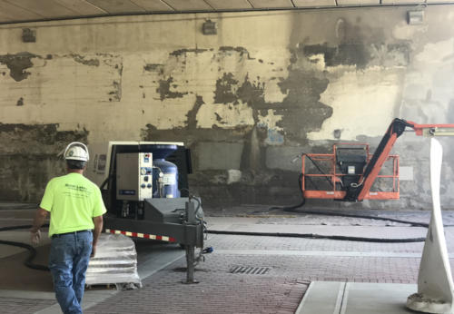 Great Lakes Concrete Restoration MLK Bridge eco blasting results