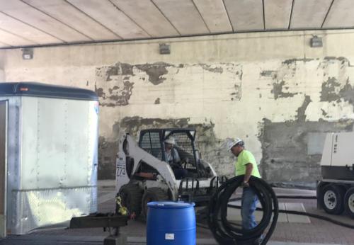 Great Lakes Concrete Restoration MLK Bridge street level preparations