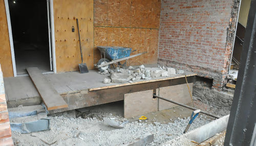 Great Lakes Concrete Monroe Downtown Toledo Building entrance brick wall foundation repair