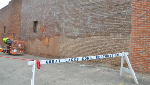 Great Lakes Concrete Restoration Monroe St Downtown Toledo Building brick wall repair
