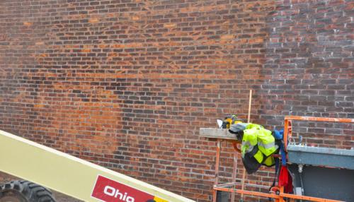 Great Lakes Concrete Restoration Monroe St Downtown Toledo Building brick wall restoration