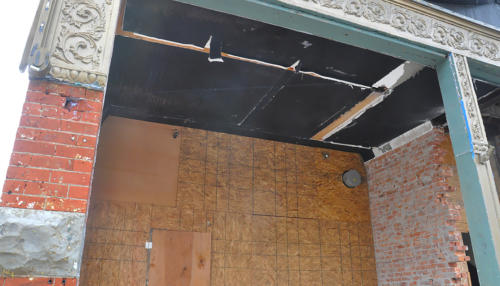 Great Lakes Concrete Restoration Monroe St Downtown Toledo Building entrance frame ceiling