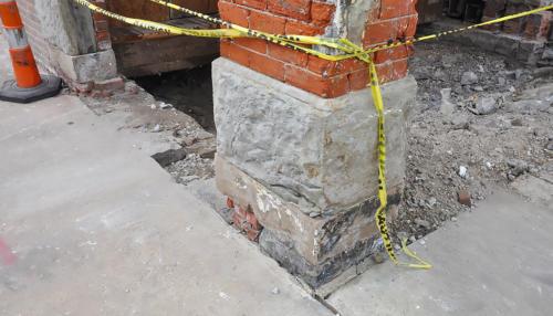 Great Lakes Concrete Restoration Monroe St Downtown Toledo Building pillar and entrance restoration
