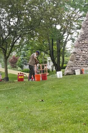 Great Lakes Concrete Restorations volunteer on gunkel pyramid